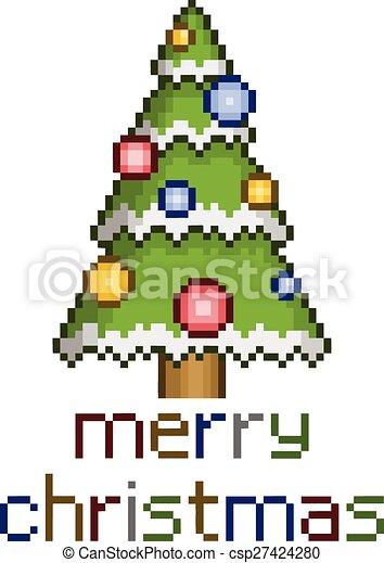 Árbol de Navidad Pixel con adornos - csp27424280
