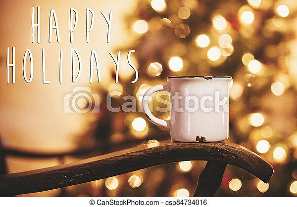 árbol, silla, año nuevo, festivo, card., navidad, de madera, bebida, feliz, vacaciones, saludos, room., season's, texto, dorado, viejo, caliente, jarra, alegre, luces - csp84734016