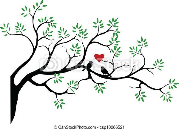 Silueta de árbol con pájaro - csp10286521