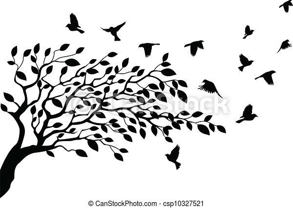 Silueta de árboles y pájaros - csp10327521