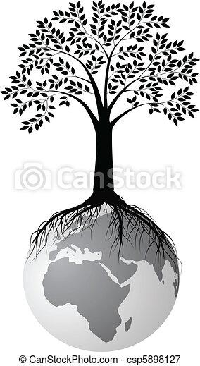 Silueta de árbol en la tierra - csp5898127