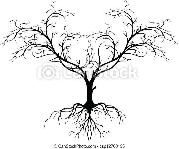 árbol Sin Silueta Hoja Silueta árbol Ilustración Sin Vector