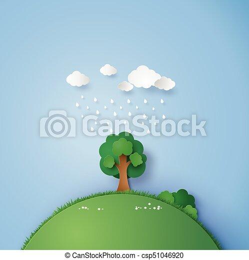 Un árbol solitario en el campo con la lluvia y la nube. - csp51046920