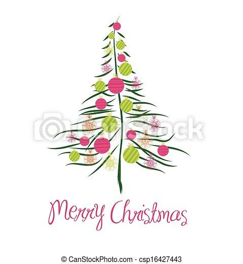 Tarjeta de Navidad con árbol - csp16427443