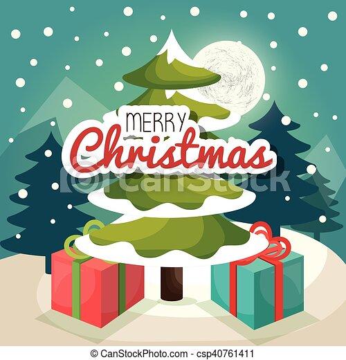 Tarjeta de pino de árbol de Navidad - csp40761411