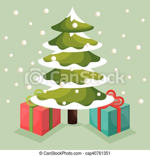 Tarjeta de pino de árbol de Navidad - csp40761351