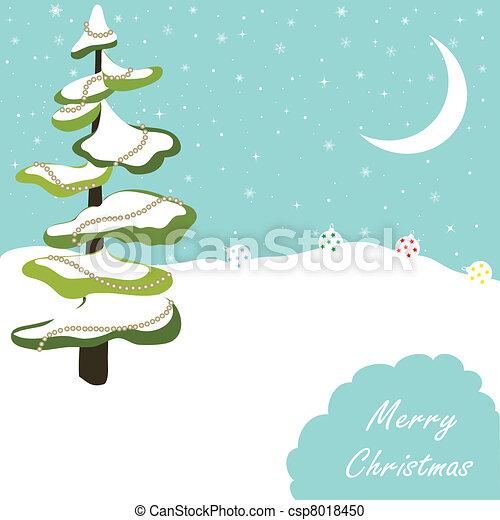 Tarjeta de felicitación del árbol de Navidad - csp8018450
