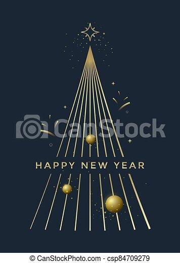 árbol, tarjeta, nuevo, saludo, diseño, año, navidad - csp84709279