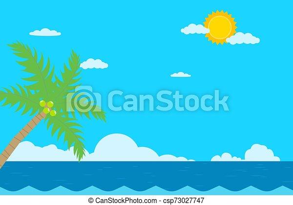 Escena tropical con océano. Árbol de coco y paisaje marino. - csp73027747