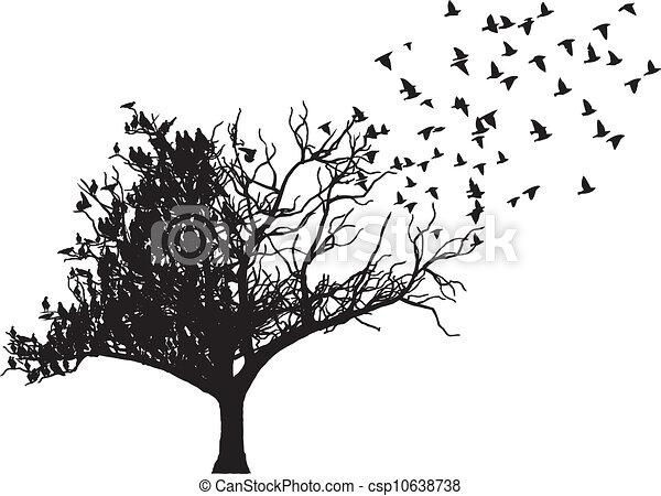 Vector de arte de pájaro de árbol - csp10638738
