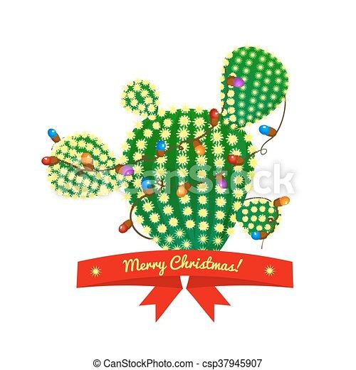 Árbol de cactus de Navidad, ilustración vectorial - csp37945907