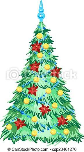Árbol de Navidad verde con adornos - csp23461270