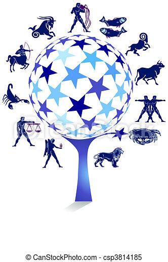 Signo Zodiaco con árbol estrella - csp3814185