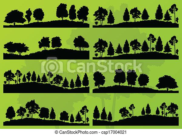 Árboles del bosque siluetas vector de paisaje - csp17004021