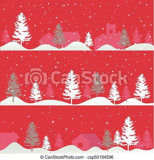 Tarjeta de felicitación de árboles de Navidad - csp50184596