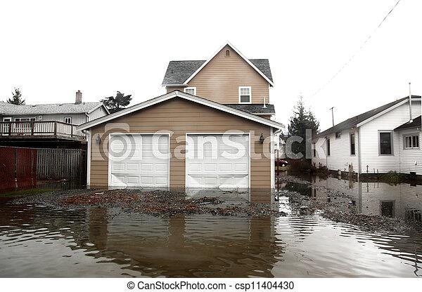 Inundación en el área de Seattle, EE.UU., Washington - csp11404430