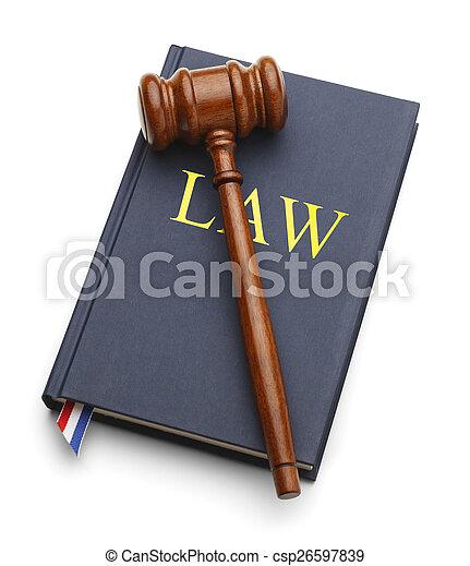 árverezői kalapács, törvénykönyv - csp26597839
