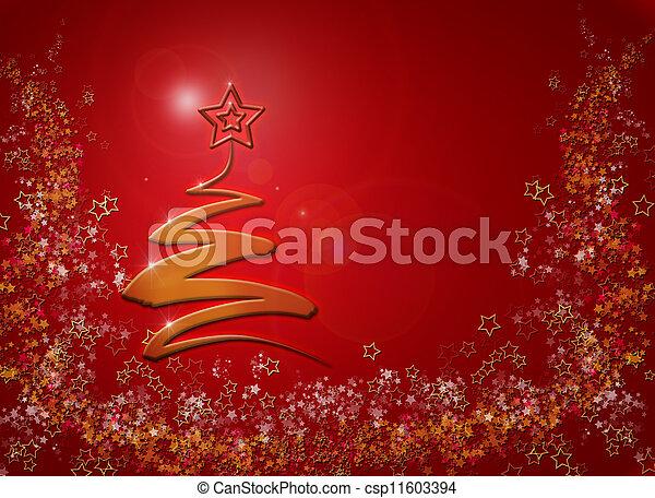 árvore, abstratos, fundo, modernos, natal - csp11603394