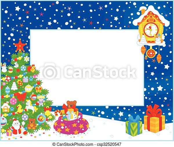 árvore, borda, natal - csp32520547