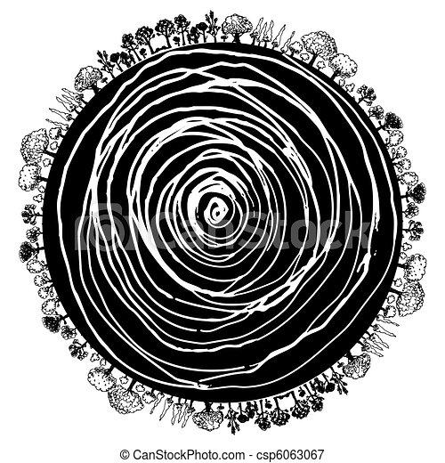 árvore, círculo, raiz, ícone - csp6063067