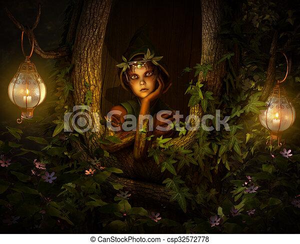 árvore, cg, pixie, 3d - csp32572778