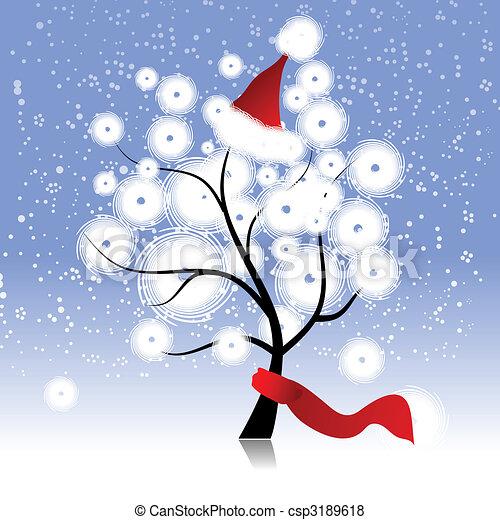 árvore, chapéu, natal, inverno - csp3189618