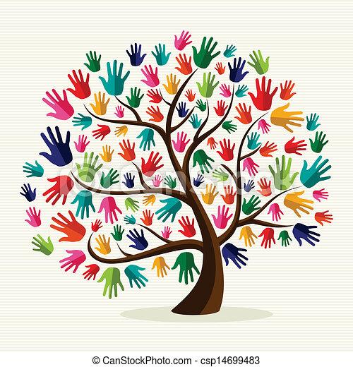 árvore, coloridos, solidariedade, mão - csp14699483