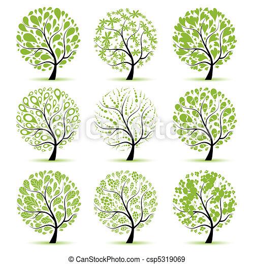 árvore, desenho, arte, seu, cobrança - csp5319069