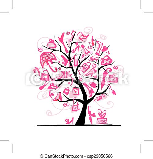 árvore, desenho, conceito, shopping, seu - csp23056566