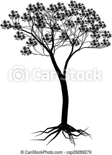 árvore, desenho, silueta, seu - csp29289279