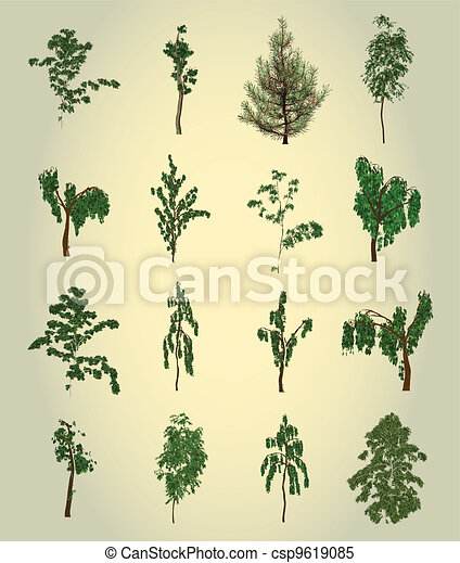 árvore., design., vetorial, jogo, elemento - csp9619085