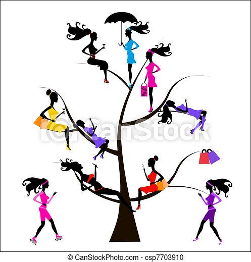 árvore, diferente, sociology, meninas - csp7703910
