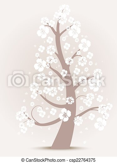 árvore, flor, silueta - csp22764375