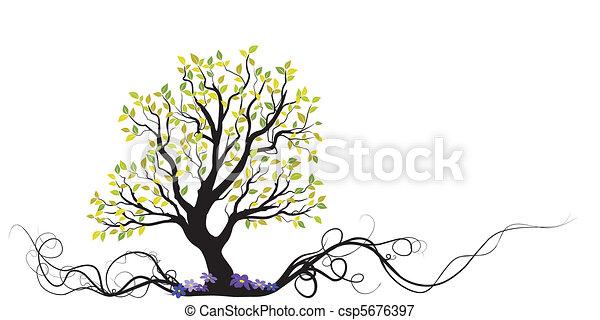 árvore, flores, vetorial, raiz - csp5676397