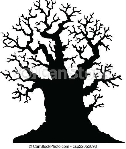 árvore, leafless, silueta, carvalho - csp22052098