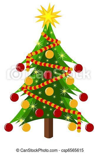 Arvore Natal Coloridos Sobre Arvore Isolado Ilustracao