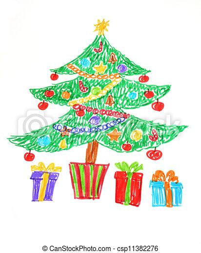 Arvore Natal Desenho Estilo Coloridos Arvore Presentes