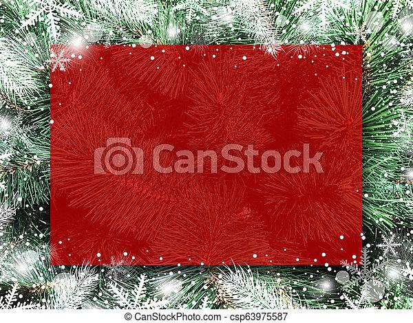 árvore natal, neve, xmas, desenho, tábua, fundo, em branco, snowflake, vermelho - csp63975587