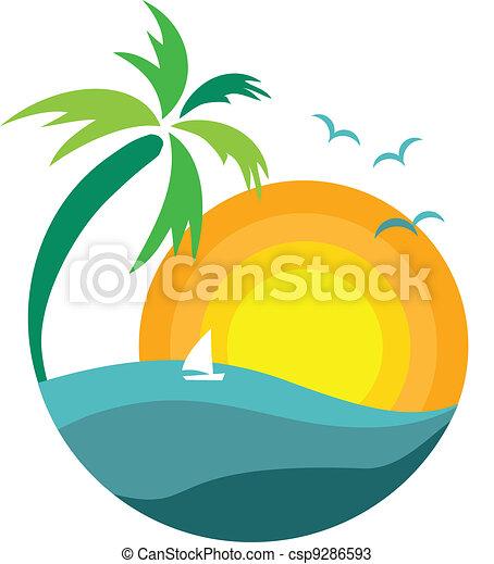 árvore palma, pôr do sol, vista - csp9286593