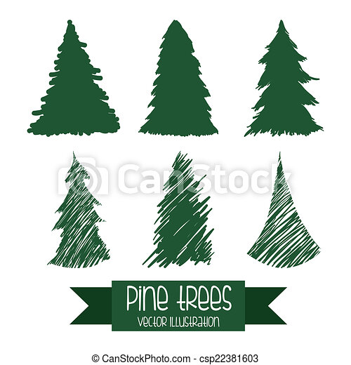 árvore pinho, desenho - csp22381603