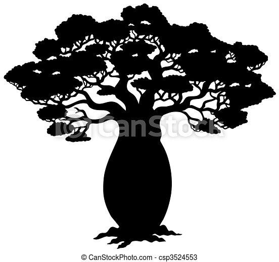 árvore, silueta, africano - csp3524553
