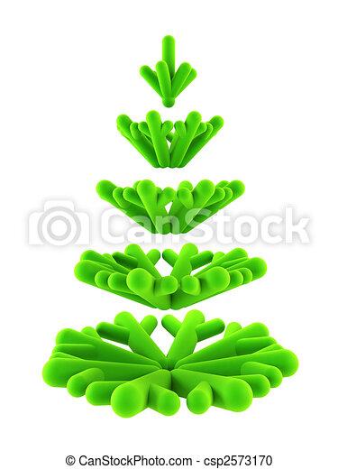 árvore, simbólico, abeto, 3d, ano novo - csp2573170