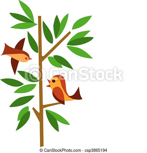 árvore verde, dois pássaros - csp3865194