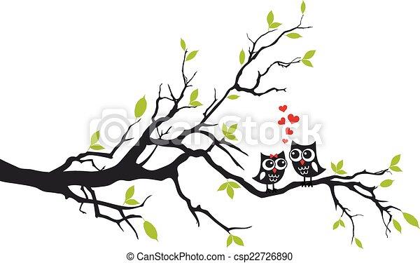 árvore, vetorial, amor, corujas - csp22726890