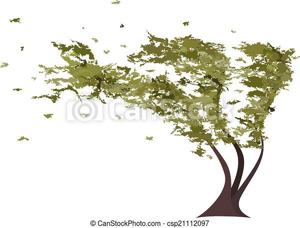 árvore, vetorial, grunge, wind. - csp21112097