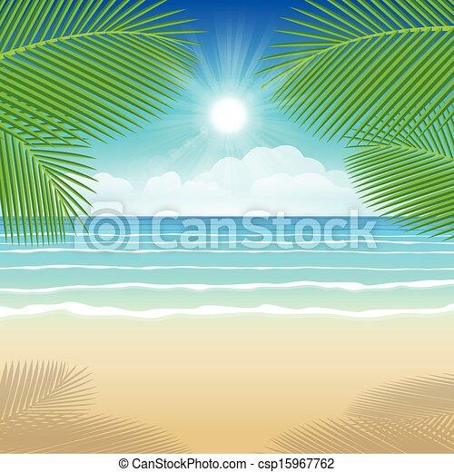 árvores., coco, mar, areia, fundo - csp15967762