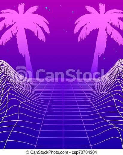 árvores Néon Palma Cyberpunk Design Meio Ambiente Glowing Retro Modelo Partido Synthwave Clube Cartaz Ilustração Jogo Voador Fundo
