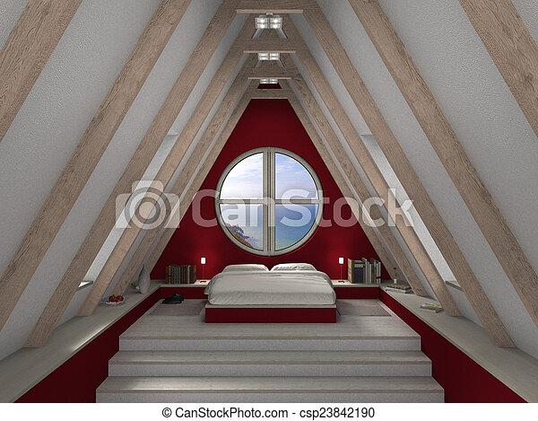Dormitorio marrón y blanco - csp23842190