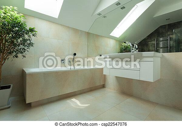 Baño en el ático - csp22547076