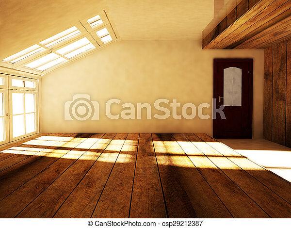 Un ático vacío con la ventana - csp29212387